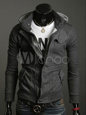 Hoodie For Men Terry Turndown Collar Long Sleeve Pocket Deep Gray Casual Sweater