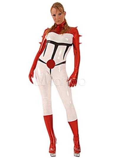 Halloween Black Red White Superheros Leotard Bodysuit PVC Jumpsuit Halloween