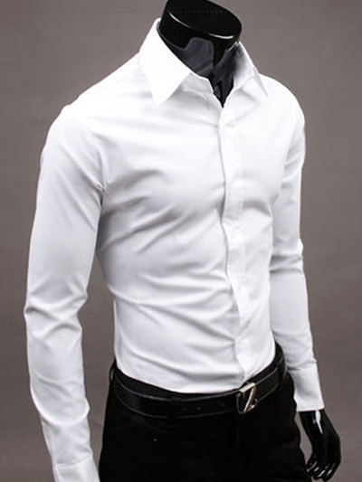 White Cotton Chic Men's Shirt - Milanoo.com