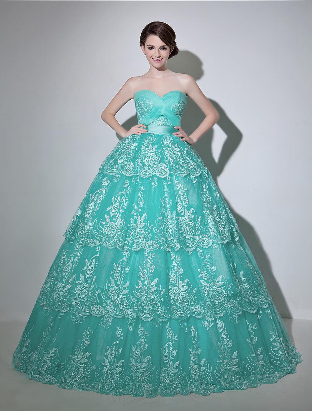 Turquoise Ball Wedding Dress