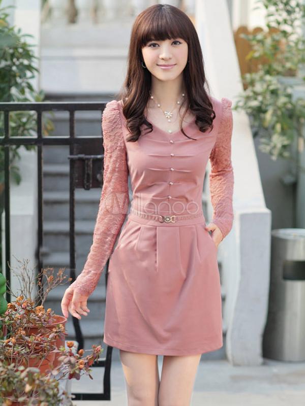 Vestido corto con escote en V y manga larga - Milanoo.com