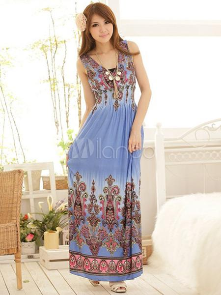 accb8cac2a Bohemian Style Blue Artwork Print Spandex V-Neck Maxi Dress-No.1 ...