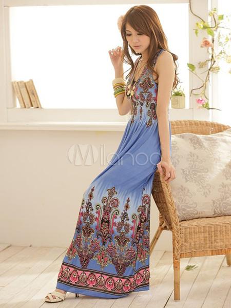 8828518eff ... Bohemian Style Blue Artwork Print Spandex V-Neck Maxi Dress-No.2 ...