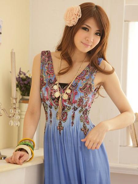 5b932cdfc4 ... Bohemian Style Blue Artwork Print Spandex V-Neck Maxi Dress-No.3 ...