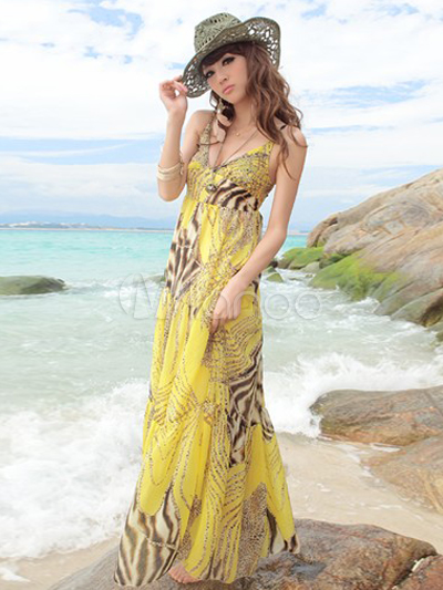 Buy Enticing Yellow Leopard Print Chiffon Straps Neck Maxi Dress for $44.99 in Milanoo store