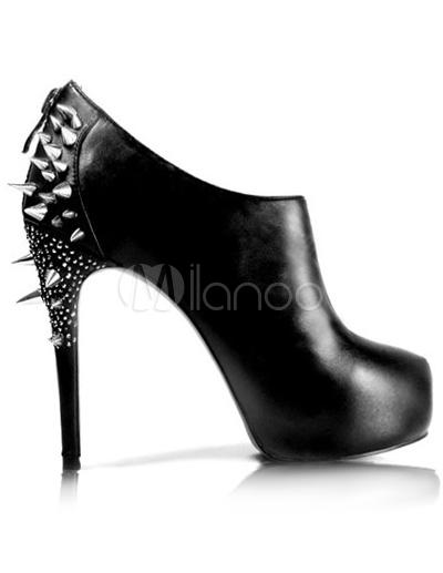 1edeb515 Botines negros con tachuelas de estilo informal - Milanoo.com