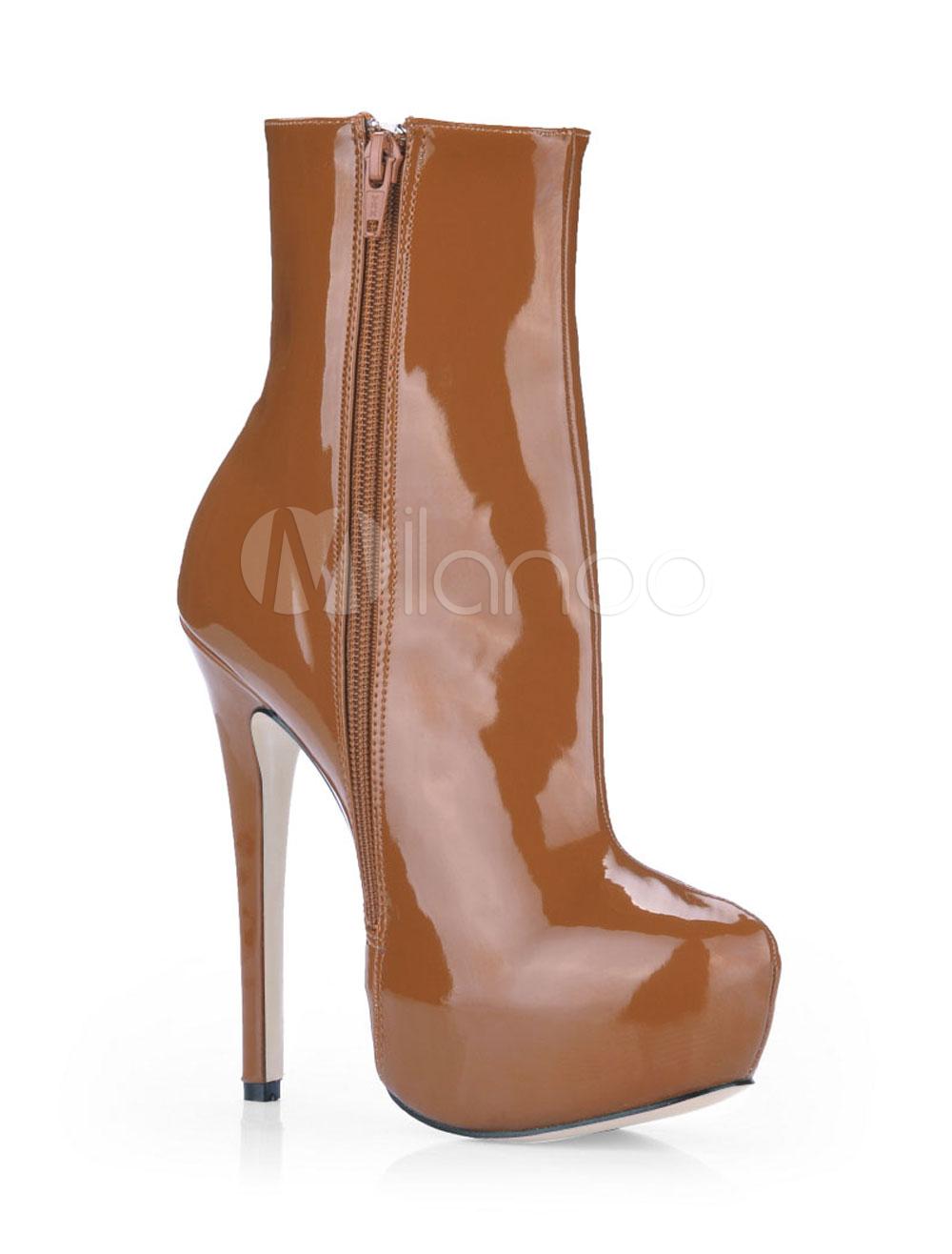 Chocolate Almond Toe Patent Woman's High Heel Booties