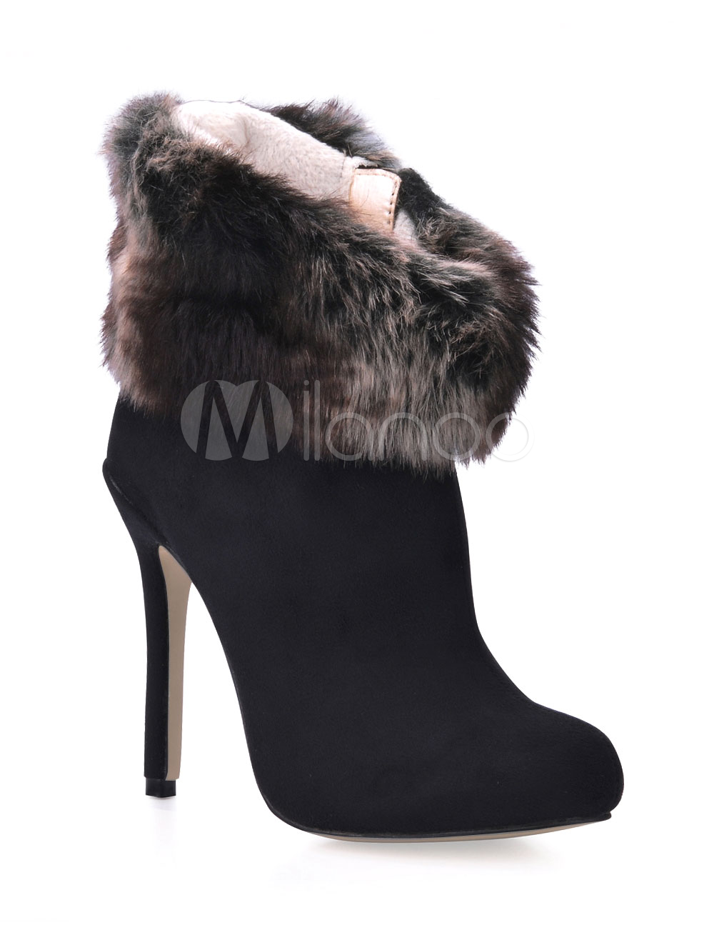 bffa9714e9db Elegant Black Furry Trim Stretch Satin Sanding Woman s High Heel ...