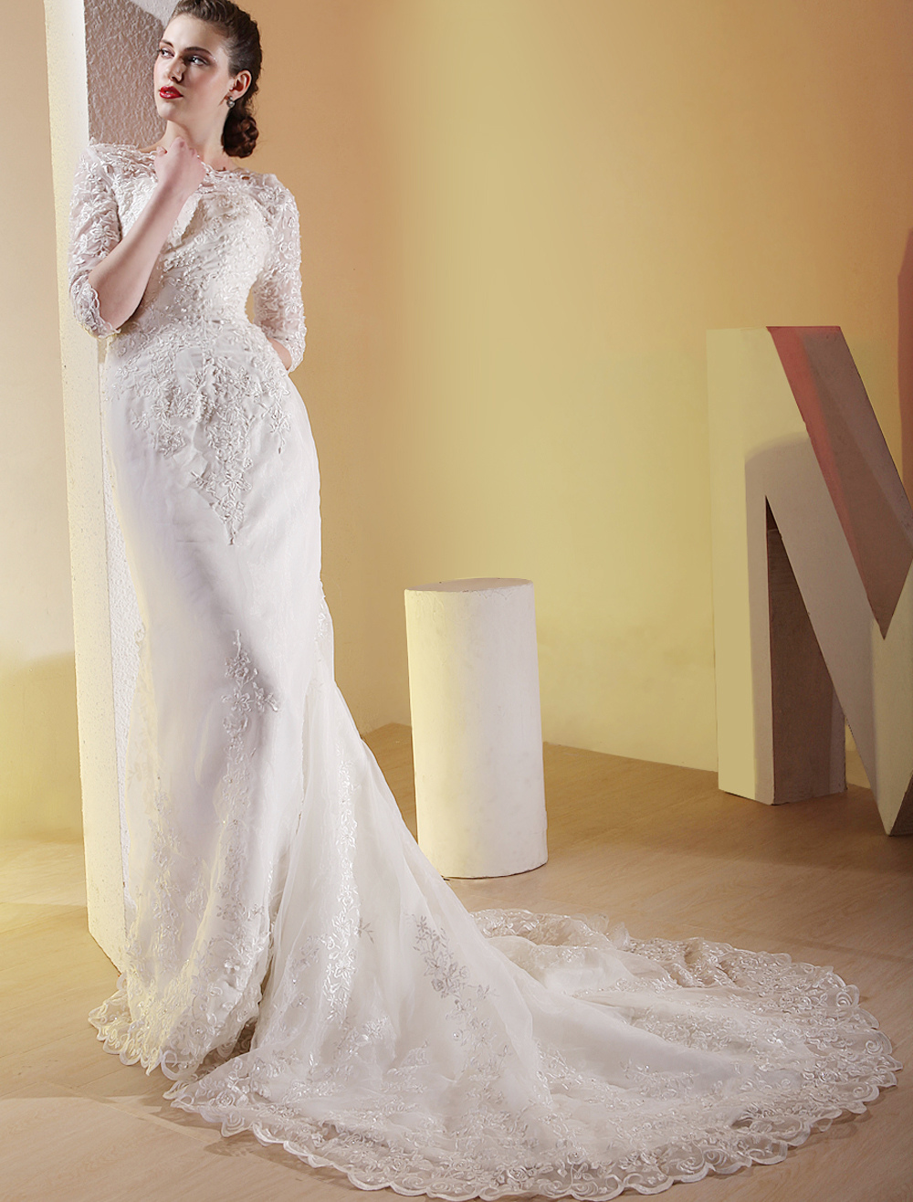 918ead7066a ... White Satin Three Quarter Sleeves Floor Length Luxury Wedding Dress-No.3  ...