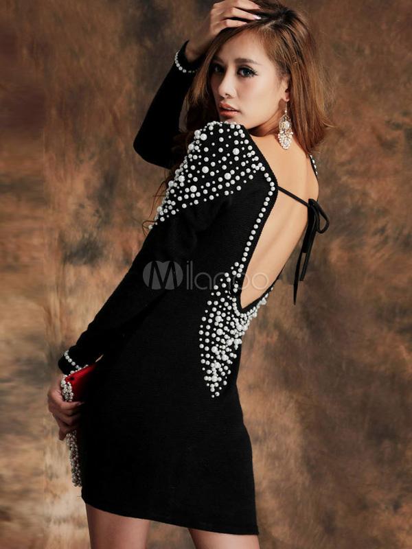 684c6e214569 Belle mini robe sexy noire avec perles à dos décolleté et col bateau -No.