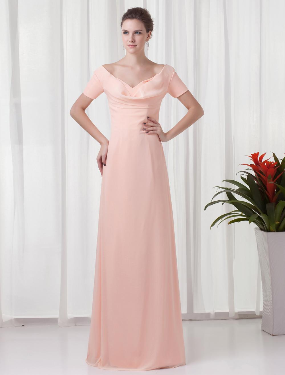 Chiffon Mother Of The Bride Dress Peach Short Sleeve Evening Dress V  Back Floor Length Occasion Dress