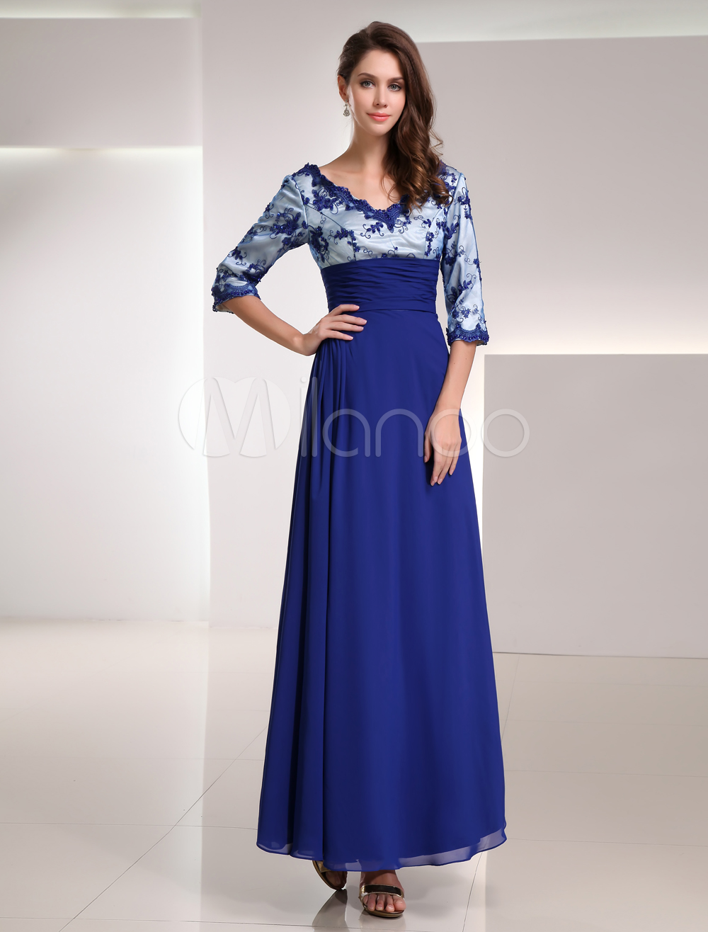 Buy Royal Blue Chiffon Lace V-neck Half Sleeve Mother of the Bride Dress for $120.59 in Milanoo store
