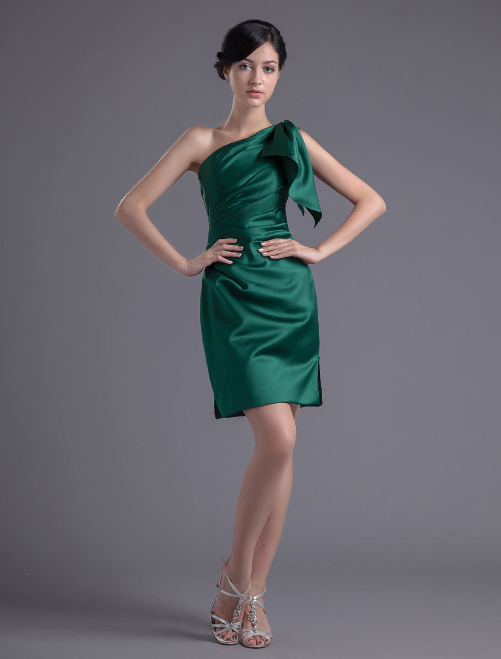 Short one shoulder sheath ruched satin dark green for One shoulder short wedding dress