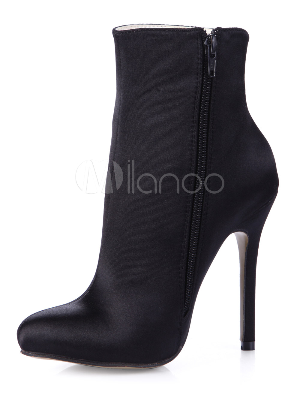 Black Pointed Toe Silk And Satin Fabulous High Heel Booties For Woman