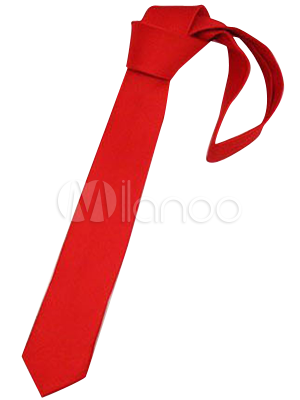 Casual Red Polyester Woven Narrow Mens Narrow Tie