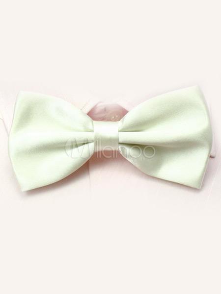 Ivory Elastic Silk Like Satin Bow Tie