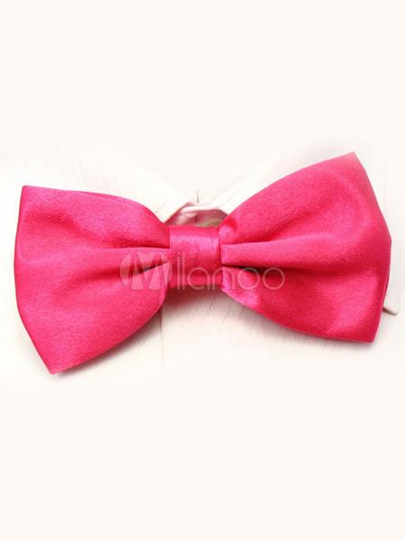 Cute Pink Men's Elastic Silk Like Satin Bow Tie