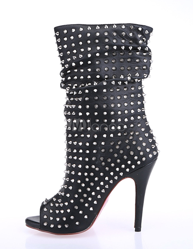 High Heel Boots Women Peep Toe Rivets