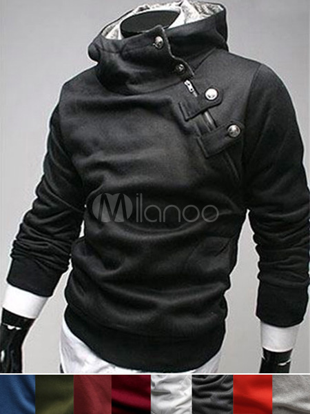 Men Black Hoodie Cotton Sweatshirt Hooded Long Sleeve Assassins Creed Hoodie