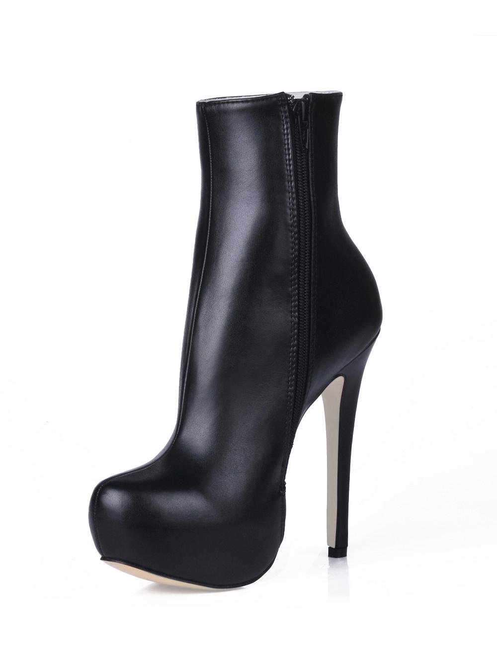 black high heel pu mid calf boots milanoo