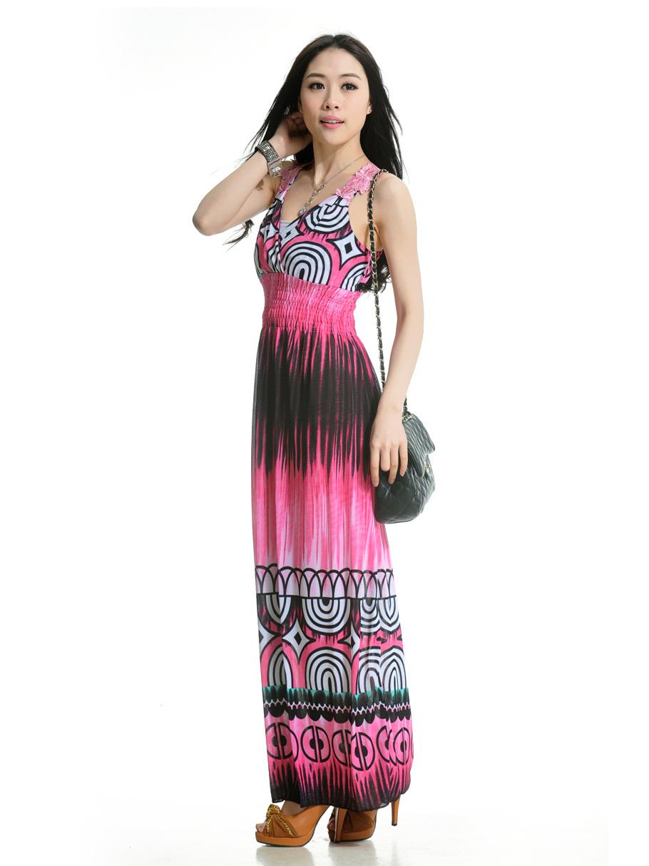 f00e4deeb ... Vestido largo de spandex con escote en V de estilo informal-No.2 ...