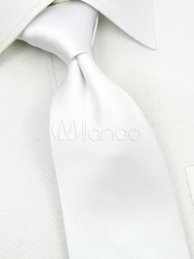 White Blended Cotton Men's Tie