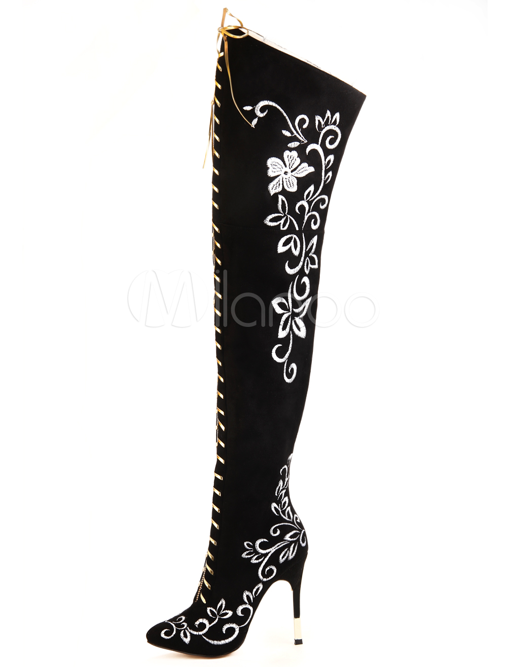 Buy Thigh High Boots Black Pointed Toe Over Knee Boots For Women for $108.29 in Milanoo store