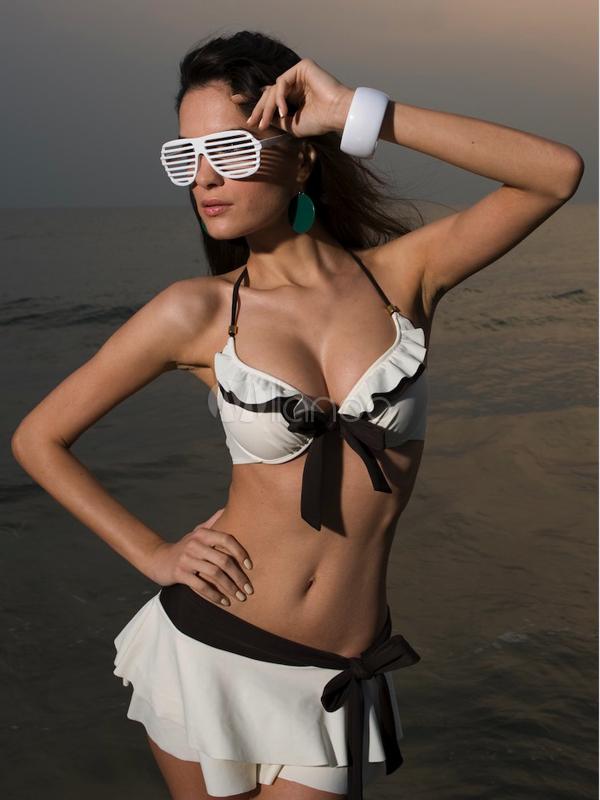 White Ruffles Nylon Two Piece Swimsuit for Girls