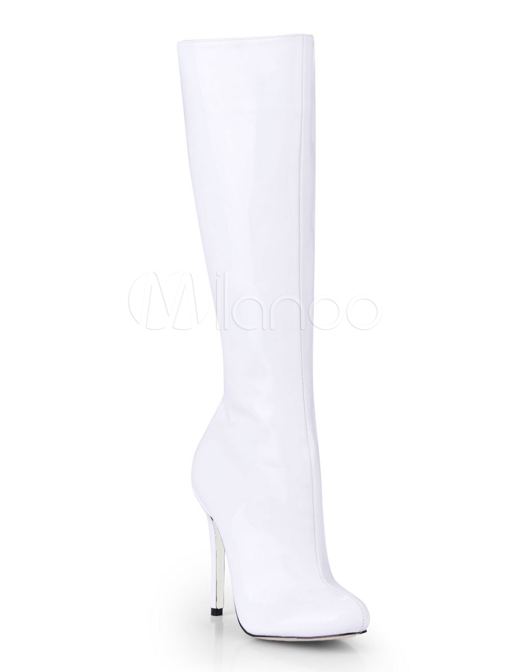 White Almond Toe Patent Knee Length Boots