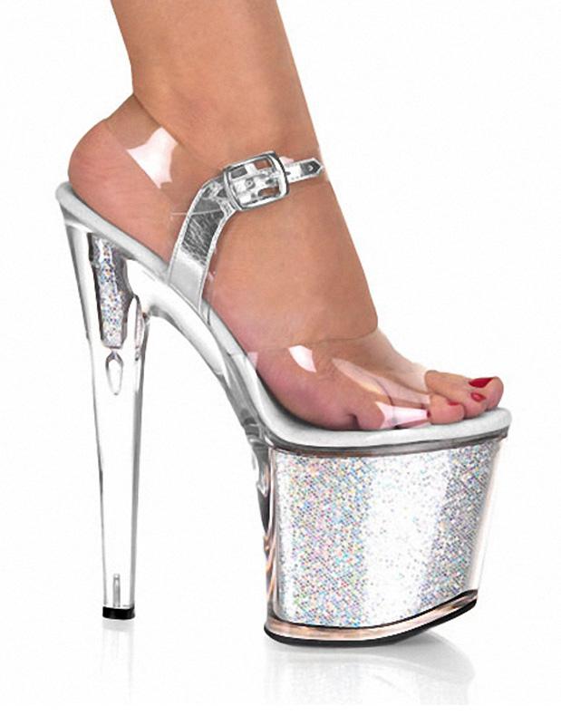 En Rose Brillant Talons À Aiguilles Avec Sexy Imprimé Pvc Chaussures Paillettes 543RAjL