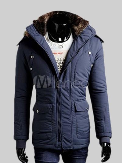 6058b7a8d7788 Color sólido del Faux Fur bolsillos algodón chaquetas acolchadas de hombres  modernos -No.1 ...
