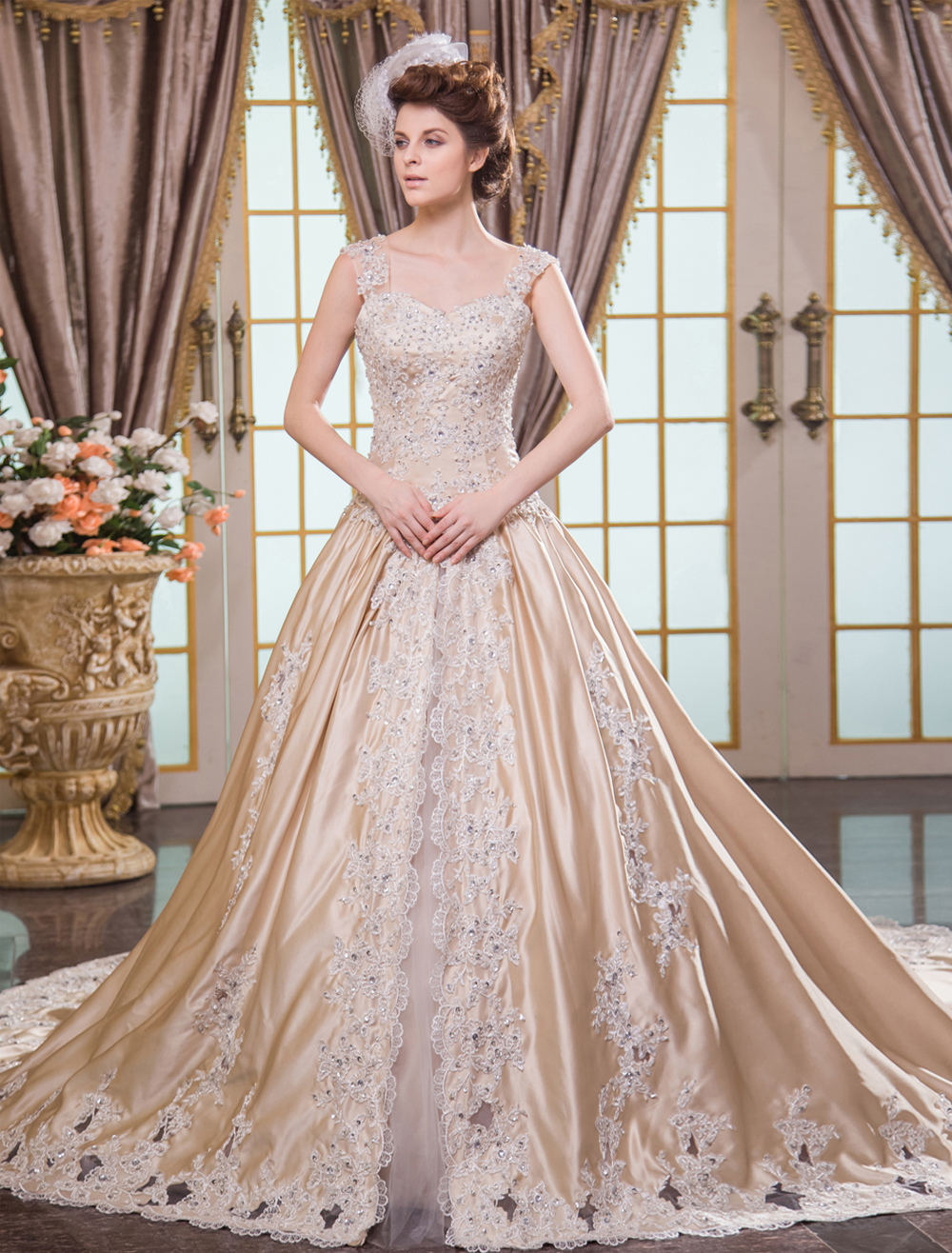 Champagne Ball Gown Lace-up Bridal Wedding Dress Milanoo - Milanoo.com