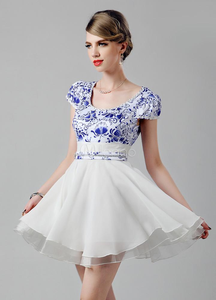 White A-line Scoop Neck Print Chiffon Pretty Short Cocktail Dress ...