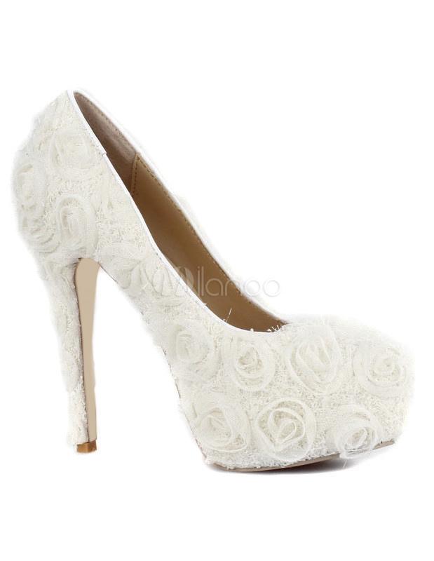 ... Chaussures à talons aiguilles charmantes blanches en tissu-No.3 ...