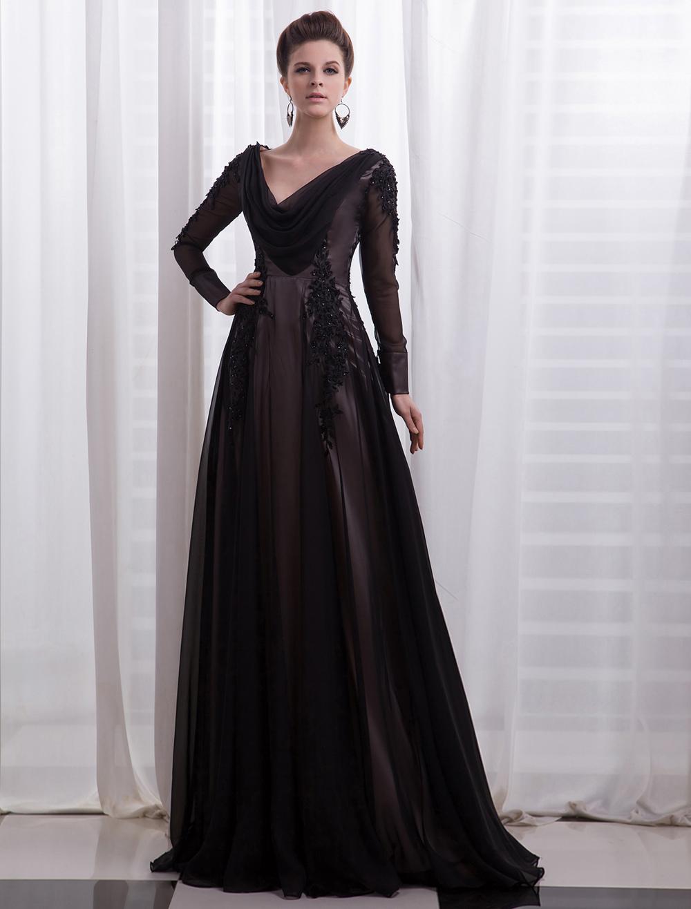 Black Evening Dress Deep-V Sequins Mesh Chiffon Prom Dress Milanoo