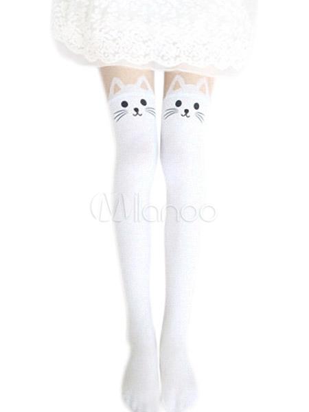 Harajuku White Black Velvet Lolita Thigh High Socks Cute Cats Print