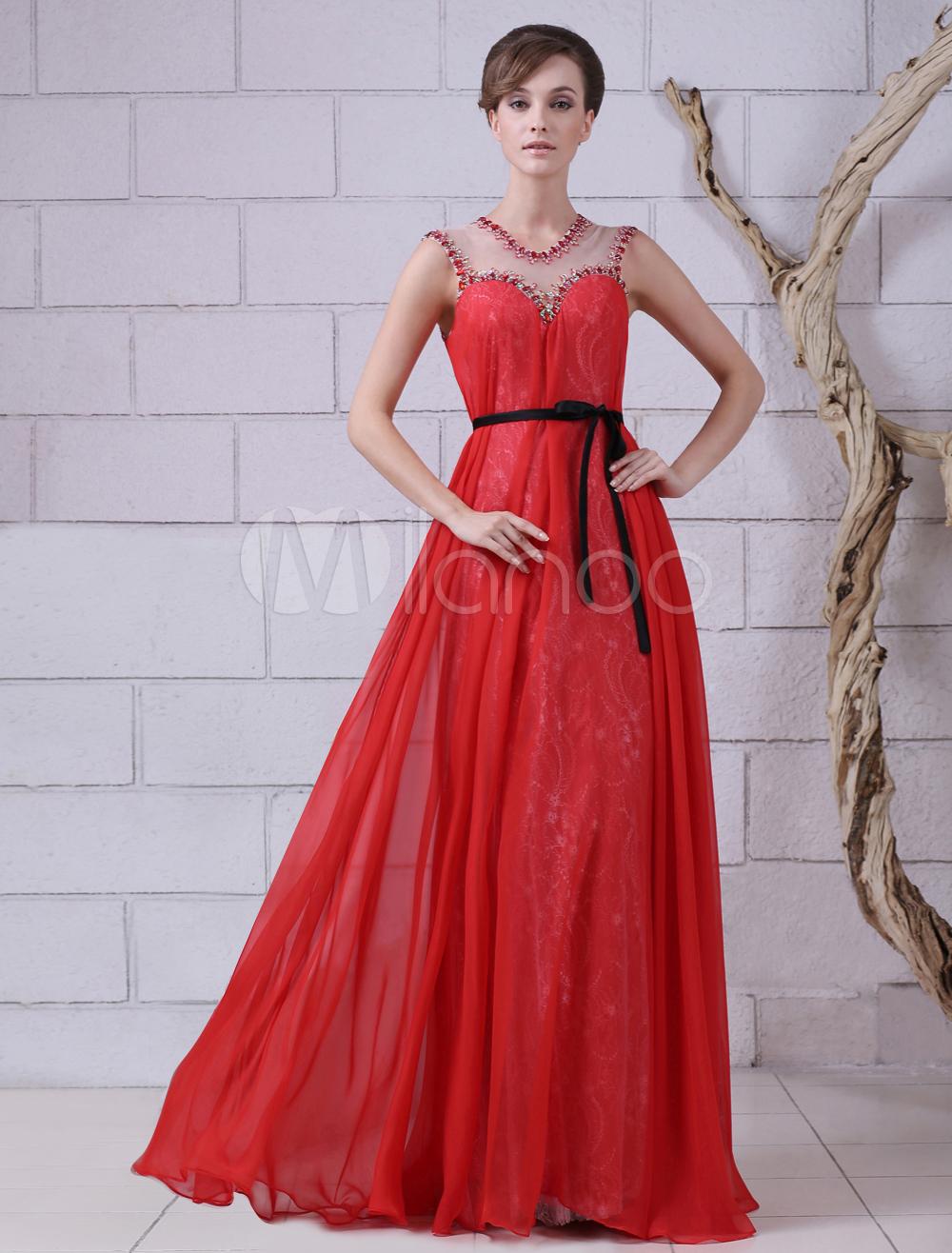 Buy Red Jewel Neck Beading A-line Sleeveless Chiffon Evening Dress Milanoo for $173.69 in Milanoo store