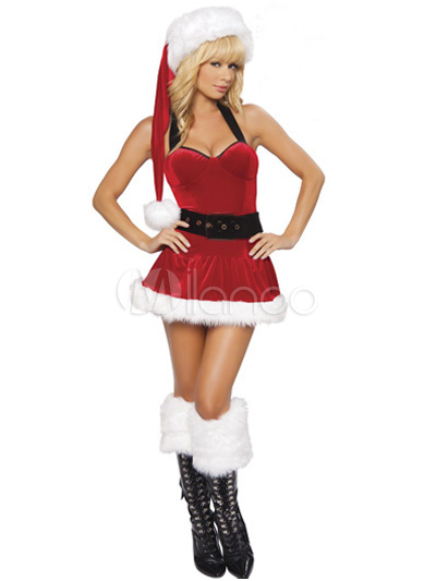 258024df9dc Enticing Halter Santa Clause Red Women s Costumes for Christmas ...