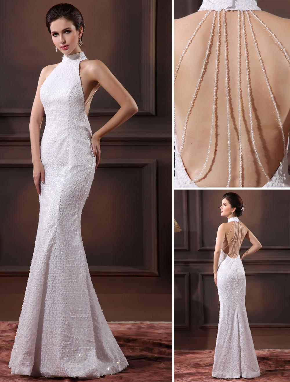 Glamorous White Sequined Halter Sequin Mermaid Wedding Dress For Bride Milanoo