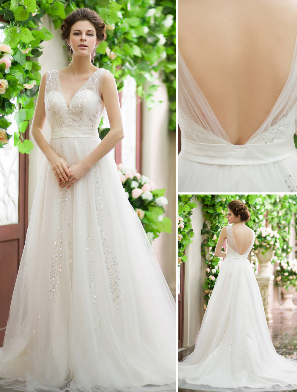 Wedding Dresses Sequin V Neck Bridal Gown Backless Ivory Sash Tulle Court Train Wedding Gown Milanoo