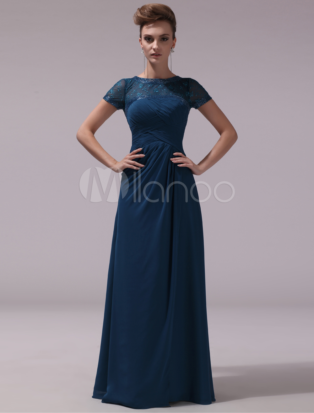 Dark Navy A-line Chiffon Short Sleeves Mother of the Bride Dress with Jewel Neck Beading Milanoo