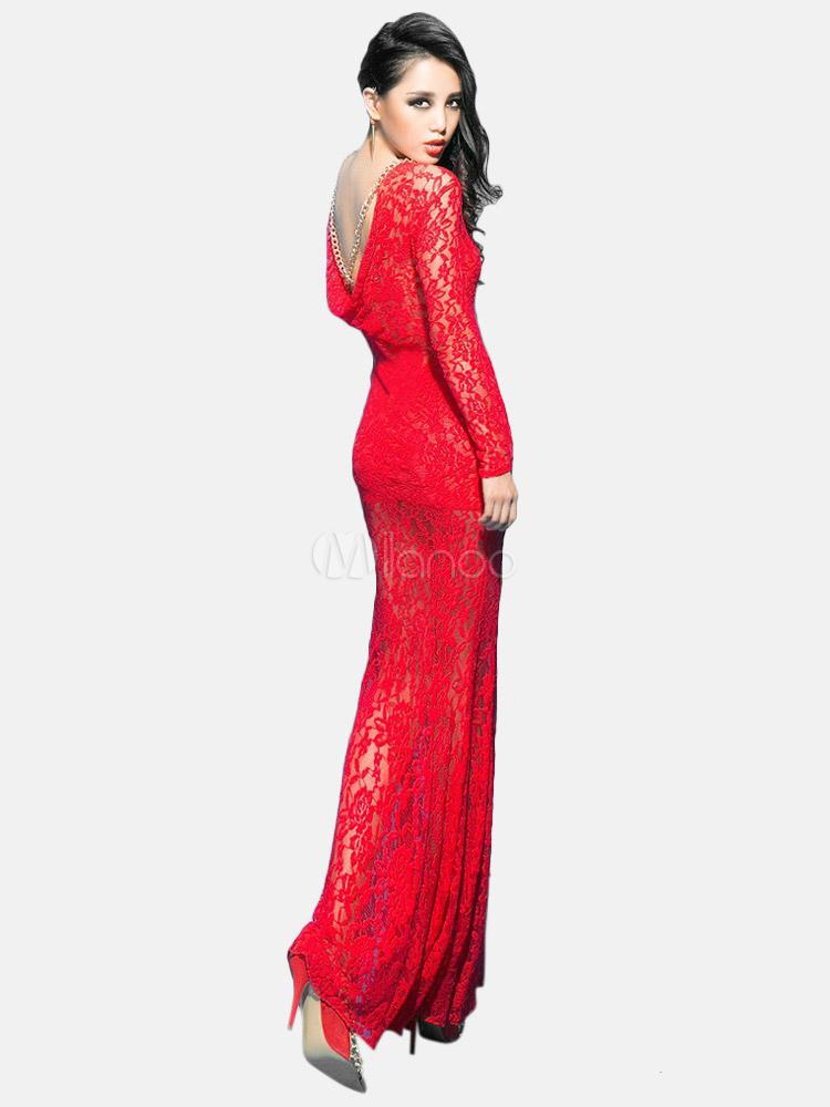 Red Lace Mermadi Maxi Dress for Woman - Milanoo.com