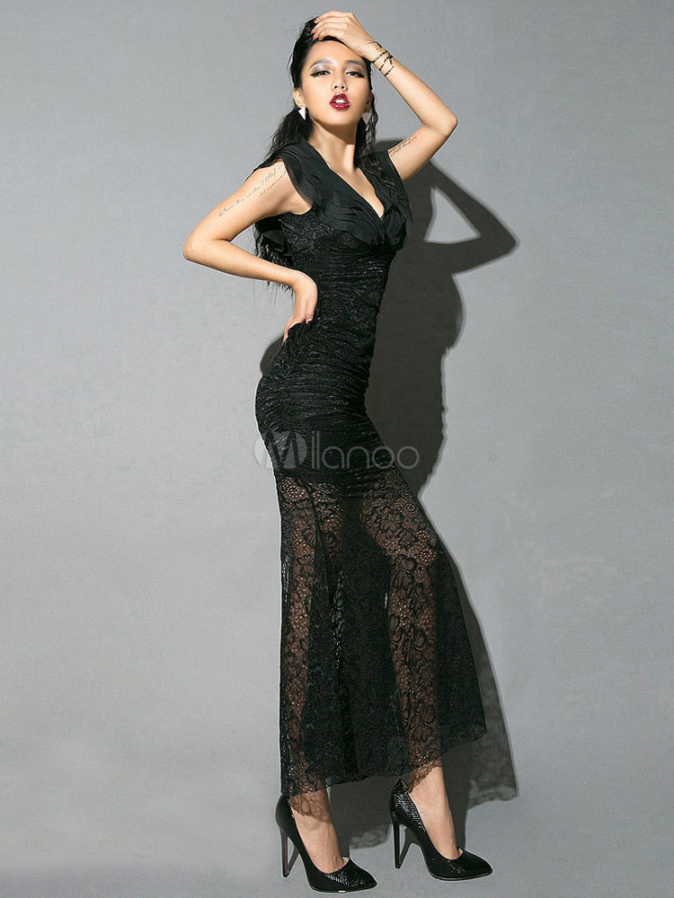 8adb6c729500 ... Vestito lungo nero monocolore in cotone misto trasparente di pizzo  -No.2 ...