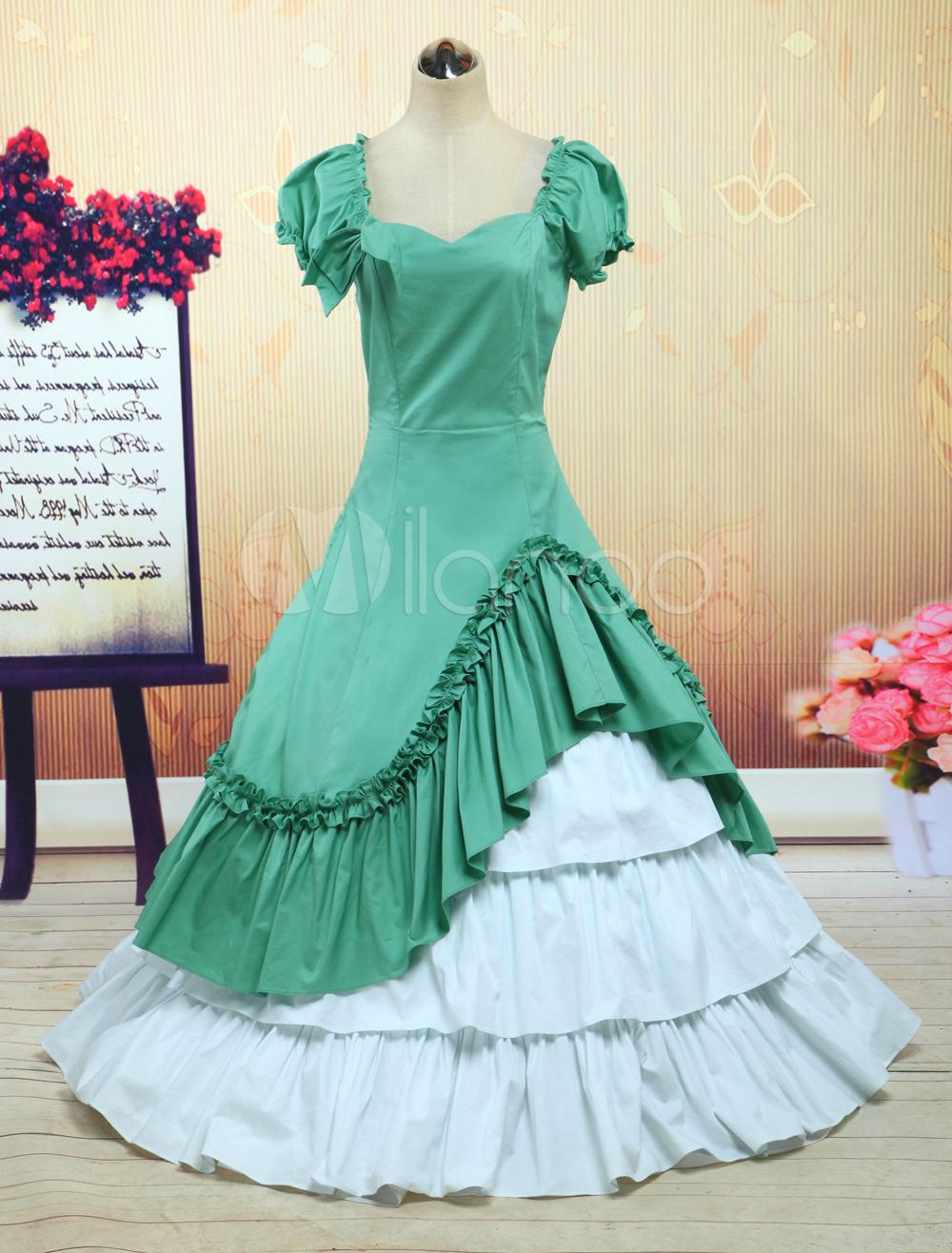 Navy Green And White Cotton Bow Classic Lolita Dress - Milanoo.com