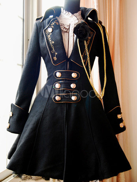 Classic Black Button Wool Lolita Jackets