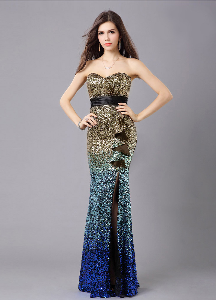 Multicolor Prom Dress Mermaid Sequins Strapless Polyester Dress