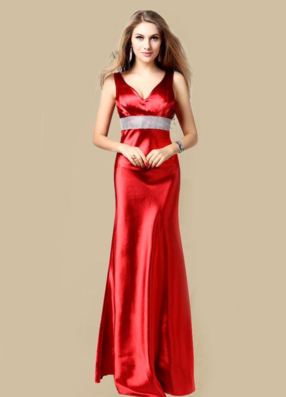 Beautiful V-Neck Rhinestone Mermaid Sleeveless Satin Evening Dress