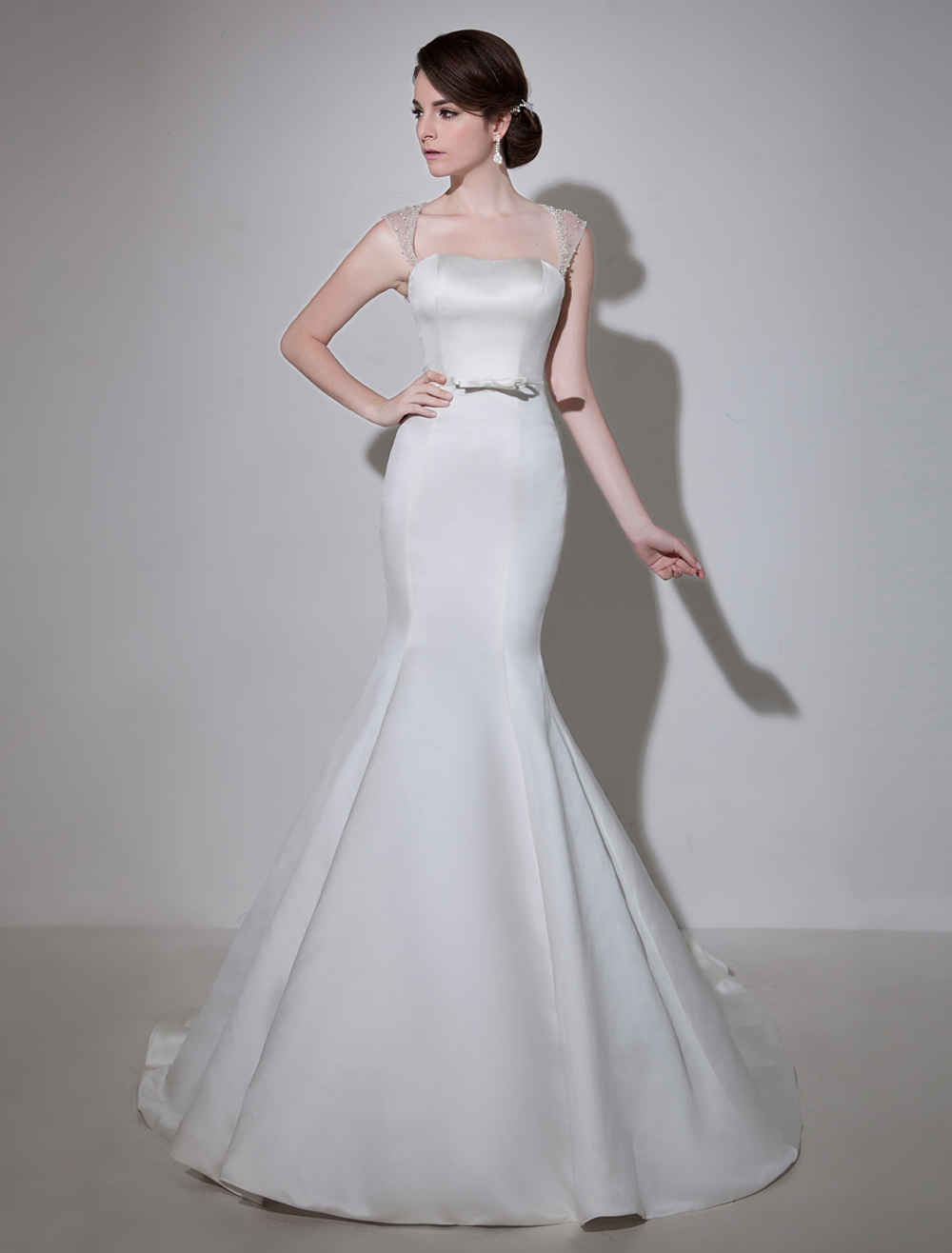 Ivory Off-The-Shoulder Satin Bridal Wedding Gown with Keyhole Neck and Court Train Milanoo