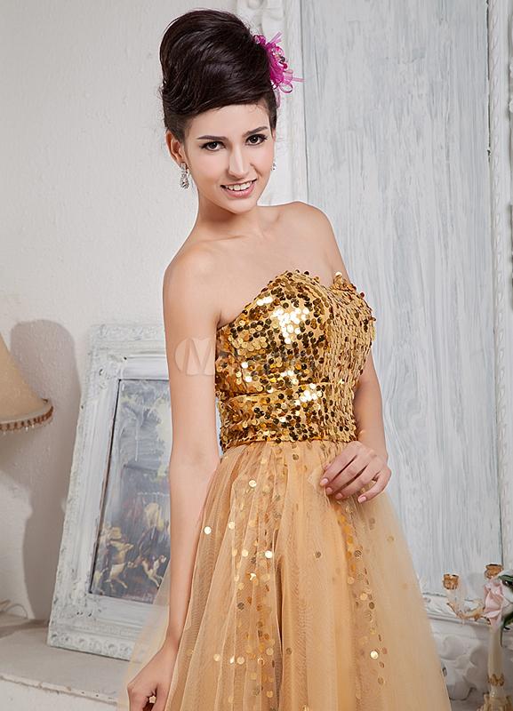 Golden Sweetheart Sequin Satin Net Prom Dress - Milanoo.com