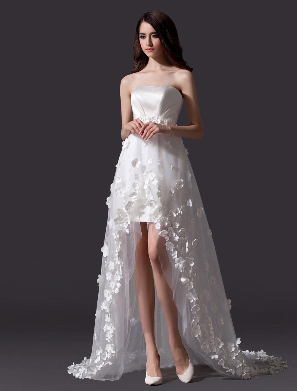 High Low Beach Wedding Dress With Petals
